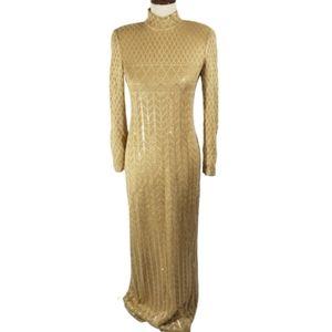 St. John Evening Gold sparkle long sleeve gown 2